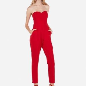 Express Strapless Sweetheart Neck Red Jumpsuit